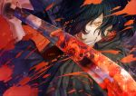 1boy alternate_costume bangs black_hair blood blood_splatter chidoriasunaro close-up eyebrows_visible_through_hair fate/grand_order fate_(series) fighting_stance glowing glowing_eye hair_over_one_eye hat holding holding_weapon japanese_clothes katana koha-ace long_hair long_sleeves looking_at_viewer male_focus okada_izou_(fate) ponytail red_eyes reflection scarf smile sword weapon