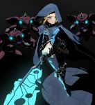 1girl blonde_hair blue_eyes bokoblin cape darkness energy_weapon frown glowing glowing_eyes highres holding holding_weapon hood hood_up pikat princess_zelda shadow short_hair signature the_legend_of_zelda the_legend_of_zelda:_breath_of_the_wild the_legend_of_zelda:_breath_of_the_wild_2 weapon