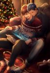 2boys aomine_daiki blue_eyes blue_hair box christmas christmas_tree gift gift_box kagami_taiga kuroko_no_basuke multiple_boys pillow red_eyes redhead sitting sitting_on_person smiley_face socks tablet_pc yaoi zawar379