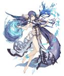 1girl absurdly_long_hair anklet aqua_eyes barefoot bow_(instrument) eyebrows_visible_through_hair fins full_body instrument jewelry ji_no long_hair looking_at_viewer music ningyo_hime_(sinoalice) official_art playing_instrument purple_hair see-through sinoalice solo transparent_background very_long_hair violin water