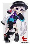 1girl bangs black_footwear black_headwear black_shorts blunt_bangs boater_hat dolphin_shorts domino_mask ear_piercing earrings eyebrows_visible_through_hair grey_background grey_hair hand_on_own_chin holding holding_weapon ink_tank_(splatoon) inkling inkling_(language) jacket jewelry leaning_forward logo long_hair long_sleeves looking_at_viewer maco_spl mask multicolored multicolored_clothes multicolored_jacket no_socks outside_border parted_lips piercing pointy_ears shoes short_shorts shorts smile sneakers solo sparkle splatoon_(series) splatoon_2 splattershot_(splatoon) standing tentacle_hair very_long_hair violet_eyes weapon zipper