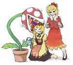 2girls aki_minoriko aki_shizuha apron autumn_leaves biting biting_clothes black_footwear black_neckwear black_pupils black_skirt blonde_hair blood blood_on_face collarbone commentary_request flower_pot food food_themed_hair_ornament fruit grape_hair_ornament grapes hair_ornament highres leaf leaf_hair_ornament leaf_on_head long_sleeves looking_at_another maple_leaf mario_(series) medium_hair multiple_girls open_mouth orange_skirt peroponesosu. piranha_plant plant red_apron red_headwear red_vest shaded_face sharp_teeth shirt siblings simple_background sisters sitting skirt smile star_(symbol) surprised suspender_skirt suspenders sweat teeth touhou vest watering_can white_background white_legwear yellow_shirt yellow_sleeves