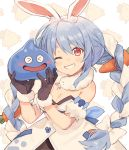 animal_ear_fluff animal_ears black_gloves blue_hair braid bunny-shaped_pupils bunny_girl carrot carrot_hair_ornament dragon_quest food_themed_hair_ornament fur-trimmed_gloves fur_scarf fur_trim gloves hair_ornament highres holding hololive long_braid long_hair looking_at_viewer one_eye_closed orqz parted_lips rabbit_ears red_eyes slime_(dragon_quest) smile thick_eyebrows twin_braids upper_body usada_pekora white_hair