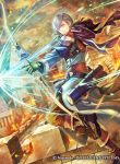 1boy arrow_(projectile) ashe_ubert boots bow_(weapon) clouds fire fire_emblem fire_emblem:_three_houses fire_emblem_cipher freckles gloves green_eyes grey_hair official_art quiver sky solo takaya_tomohide weapon