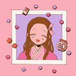 1girl bow brown_hair closed_eyes dddddestroy fang flower hanafuda heart highres kamado_nezuko kimetsu_no_yaiba long_hair open_mouth pink_bow purple_background red_flower smile solo upper_body