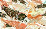 1girl absurdres animal animal_ears bangs barefoot brown_hair carp cat_ears cat_girl fish fishbowl goldfish highres holding kodomo_no_hi koinobori long_hair long_sleeves original oversized_animal profile qooo003 solo wave_print wide_sleeves wind