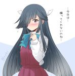 1girl black_hair blue_neckwear brown_eyes commentary_request dress hair_over_one_eye hair_ribbon halterneck hayashimo_(kantai_collection) icesherbet kantai_collection long_hair long_sleeves looking_at_viewer pleated_dress ribbon school_uniform shirt solo translation_request twitter_username two-tone_background very_long_hair white_ribbon white_shirt