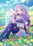 1girl belt boots clouds cloudy_sky dress fire_emblem fire_emblem:_the_blazing_blade fire_emblem_cipher flower long_hair looking_at_viewer official_art pegasus pegasus_knight short_dress simple_background sitting sky smile solo thigh-highs thigh_boots tobi_(kotetsu) white_dress