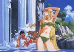 1990s_(style) 1boy 1girl arm_up bikini blonde_hair day deedlit green_bikini long_hair military military_uniform nature naval_uniform official_art outdoors parn pointy_ears record_of_lodoss_war scan side-tie_bikini strapless strapless_bikini stream swimsuit uniform very_long_hair wading water waterfall