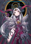 1girl absurdres animal_ears ass_visible_through_thighs claws closed_mouth expressionless fur grey_background head_tilt highres horns izayoi_cha long_hair looking_at_viewer mouth multiple_wings original red_ribbon ribbon silver_hair solo standing third_eye wings yellow_eyes