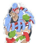 2boys absurdres angry arms_(game) black_hair blue_hair boxing_gloves crying gloves green_gloves green_shorts highres little_mac mask multiple_boys pig pompadour punch-out!! shorts simple_background spring_man_(arms) super_smash_bros. tank_top white_background