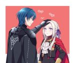 1boy 1girl black_gloves blue_eyes blue_hair byleth_(fire_emblem) byleth_(fire_emblem)_(male) cape closed_mouth edelgard_von_hresvelg fire_emblem fire_emblem:_three_houses garreg_mach_monastery_uniform gloves hair_ribbon hand_on_another's_head hiyori_(rindou66) long_hair long_sleeves red_cape ribbon short_hair simple_background smile uniform upper_body violet_eyes white_hair