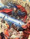 1boy armor axe belt blue_eyes blue_hair brown_gloves cape company_name copyright_name fire_emblem fire_emblem:_the_blazing_blade fire_emblem_cipher from_behind gloves hector_(fire_emblem) helmet holding holding_axe izuka_daisuke official_art open_mouth red_cape short_hair solo_focus