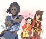 1boy 2girls :d aang avatar:_the_last_airbender avatar_(series) blue_eyes blush breasts brown_hair burn_scar choker dark_skin facial_scar genderswap genderswap_(ftm) genderswap_(mtf) heart holding_arm katara looking_at_viewer medium_breasts multiple_girls open_mouth ponytail scar scar_across_eye short_hair smile t_k_g tattoo topknot water yellow_eyes zuko