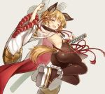 1girl animal_ears ass back bangs bare_shoulders blonde_hair blush braid breasts brown_legwear dog_ears dog_girl dog_tail erune fuyu_no_kareha granblue_fantasy katana legs long_sleeves looking_at_viewer looking_back one_eye_closed open_mouth pantyhose platform_footwear rope sash short_hair side_braid sideboob single_braid small_breasts smile sword tail vajra_(granblue_fantasy) weapon wide_sleeves yellow_eyes