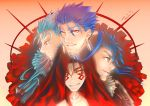 4boys blue_hair cu_chulainn_(fate)_(all) cu_chulainn_(fate/grand_order) cu_chulainn_(fate/prototype) cu_chulainn_alter_(fate/grand_order) dated earrings face facepaint facial_mark fate/grand_order fate/prototype fate/stay_night fate_(series) gradient gradient_background grin hair_strand highres hood jewelry lancer long_hair looking_at_viewer looking_away macha_(drawing_macha) male_focus multiple_boys orange_background profile red_eyes signature smile spikes thick_eyebrows yellow_background