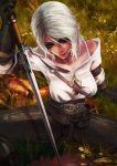 1girl black_gloves bra_strap ciri gloves grey_eyes highres holding holding_sword holding_weapon looking_to_the_side monori_rogue open_clothes open_shirt sitting solo sword the_witcher_3 weapon white_hair