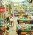 1girl bench bookshelf bow bowl brown_eyes brown_hair can cat ceiling_light chopsticks cup fan flower food highres long_sleeves mirror newspaper noodles original pet_bowl poster_(object) ramen red_flower red_rose rose short_hair shorts sitting solo tao_(tao15102) television tissue_box trash_can white_shorts