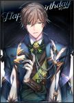 1boy ahoge bangs brown_hair collar crossed_arms dated eyebrows_visible_through_hair feathers gem gloves glowing green_eyes happy_birthday jacket jacket_on_shoulders long_sleeves looking_at_viewer male_focus open_clothes open_jacket parted_lips quan_zhi_gao_shou s_(olath) shirt short_hair solo star_(sky) upper_body wang_jiexi white_feathers white_gloves