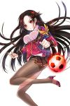 1girl ball brown_hair choker earrings frilled_skirt frills hair_ornament highres jewelry long_hair looking_at_viewer nail_polish official_art pantyhose pink_footwear ratise red_eyes red_nails sharr_(soccer_spirits) skirt soccer_ball soccer_spirits solo transparent_background