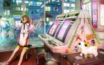 1girl arcade blush foot_out_of_frame green_eyes hair_between_eyes highres indoors long_sleeves looking_at_viewer original pac-man_(game) reflection road sitting sleeves_past_wrists solo sonic_the_hedgehog sticker stool street tao_(tao15102) wide_shot window