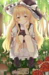 1girl ankle_socks arm_rest black_footwear black_vest blonde_hair bloomers blush braid check_translation day fly_agaric forest grass hand_on_own_chin hat hat_ribbon head_rest head_tilt kirisame_marisa loafers long_hair looking_at_viewer mushroom nature nibosi outdoors petticoat puffy_short_sleeves puffy_sleeves ribbon shirt shoes short_sleeves sign single_braid smile solo squatting touhou translation_request underwear very_long_hair vest white_legwear white_shirt witch_hat yellow_eyes