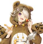 1girl ;d absurdres animal_costume animal_ears animal_hood arknights bear_costume bear_ears beehunter_(arknights) brown_hair drawstring fake_animal_ears fang food fruit hair_over_one_eye hands_up head_tilt highres holding honey hood jar jiusan_naitan long_sleeves looking_at_viewer multicolored_hair one_eye_closed open_mouth short_hair simple_background smile solo strawberry two-tone_hair upper_body violet_eyes white_background white_hair