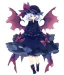 1girl alternate_color back_bow bat_wings black_footwear black_headwear black_shirt black_skirt blue_hair bow commentary fang full_body grin hat hat_bow highres long_sleeves looking_at_viewer mob_cap nikorashi-ka red_bow red_eyes remilia_scarlet shirt shoe_bow shoes short_hair simple_background skirt smile solo touhou white_background wings
