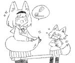 >_< 2girls :d ^_^ animal_ear_fluff animal_ears bangs between_legs blush closed_eyes commentary english_commentary fox_ears fox_girl fox_tail greyscale hairband latenight laughing long_sleeves monochrome multiple_girls neckerchief open_mouth original pleated_skirt sailor_collar school_uniform serafuku shirt simple_background sketch skirt sleeves_past_wrists smile sparkle spoken_object tail tears thigh-highs toothbrush toothpaste white_background xd