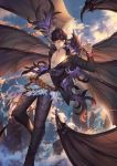 1boy abs adjusting_belt bangs bat_wings belial_(the_seven_deadly_sins) belt black_hair chest cliff clouds cloudy_sky darkavey feathers flying granblue_fantasy hand_up highres jacket long_sleeves looking_at_viewer male_focus navel open_clothes open_mouth pants pectorals red_eyes revealing_clothes shiny shiny_hair sky smile solo sunlight toned toned_male wings