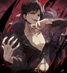 1boy abs amise bangs belial_(granblue_fantasy) belt black_hair black_shirt fang feather_boa granblue_fantasy laughing long_sleeves looking_at_viewer male_focus open_clothes open_hand open_mouth pectorals red_eyes revealing_clothes shiny shiny_hair shirt smile solo toned toned_male upper_body