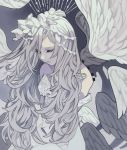 1girl angel angel_wings closed_eyes detached_wings grey_hair highres limited_palette long_hair muted_color original solo tokiwata_soul upper_body wings