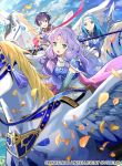 3girls armor bangs clouds cloudy_sky commentary_request company_connection copyright_name day farina_(fire_emblem) fiora_(fire_emblem) fire_emblem fire_emblem:_the_blazing_blade fire_emblem_cipher florina_(fire_emblem) long_hair multiple_girls official_art outdoors pegasus pegasus_knight petals sky tobi_(kotetsu) wings