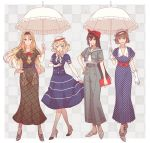 4girls :d alternate_costume anchor_symbol black_dress black_hair blonde_hair blue_dress blue_eyes braid brown_hair collarbone colorado_(kantai_collection) dress flower full_body gloves green_eyes grey_footwear hat high_heels holding holding_umbrella kantai_collection kasumi_(skchkko) long_hair multiple_girls mutsu_(kantai_collection) nagato_(kantai_collection) nelson_(kantai_collection) open_mouth parasol polka_dot polka_dot_dress purple_dress red_eyes red_flower red_rose rose short_hair short_sleeves smile umbrella white_gloves white_headwear white_umbrella