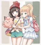 2girls :d bag bangs beanie black_hair blonde_hair blue_eyes blush braid character_doll clefairy closed_mouth collarbone commentary_request gen_1_pokemon green_eyes hat highres holding kazuru_wa lillie_(pokemon) long_hair looking_at_another medium_hair mizuki_(pokemon) multiple_girls open_mouth pleated_skirt pokemon pokemon_(game) pokemon_sm red_headwear shirt short_sleeves shorts skirt smile teeth tied_shirt tongue