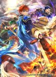 1girl 2boys animal armor blue_eyes blue_hair cape commentary_request company_connection company_name copyright_name eliwood_(fire_emblem) fire fire_emblem fire_emblem:_the_blazing_blade fire_emblem_cipher green_eyes green_hair hector_(fire_emblem) holding holding_sword holding_weapon horse horseback_riding long_hair long_sleeves looking_at_viewer lyn_(fire_emblem) multiple_boys official_art ponytail redhead riding short_hair short_sleeves shoulder_armor smile sword tied_hair wada_sachiko weapon