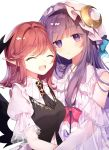 2girls bat_wings black_vest closed_eyes commentary_request crescent crescent_hair_ornament dress fang hair_ornament hat head_wings highres koakuma long_hair looking_at_viewer medium_hair mob_cap multiple_girls necktie open_mouth patchouli_knowledge pointy_ears puffy_short_sleeves puffy_sleeves purple_hair redhead risui_(suzu_rks) shirt short_sleeves skin_fang touhou upper_body vest violet_eyes white_background white_dress white_shirt wings