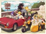 4boys 4girls animal_ears asclepius_(fate/grand_order) atalanta_(fate) berserker blonde_hair caenis_(fate) camouflage car caster_lily castor_(fate/grand_order) dark_skin fate/grand_order fate_(series) gold_coin googles green_hair grin ground_vehicle highres jason_(fate/grand_order) long_hair map motor_vehicle motorcycle multiple_boys multiple_girls nn_(nnenuenun) pollux_(fate/grand_order) purple_hair road_sign sign smile white_hair