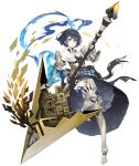 1girl alice_(sinoalice) armored_boots bare_shoulders boots dark_blue_hair eyebrows_visible_through_hair full_body gauntlets hairband huge_weapon ji_no looking_at_viewer official_art pale_skin pocket_watch polearm short_hair sinoalice solo spear tattoo thigh-highs thigh_boots transparent_background watch weapon yellow_eyes