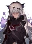 1girl animal_ears arknights bangs black_coat blood blood_on_face bloody_clothes bloody_hands coat eyebrows_visible_through_hair fingerless_gloves gloves grin hair_between_eyes hair_ornament hairclip lappland_(arknights) long_hair long_sleeves scar scar_across_eye simple_background smile solo soukou_makura sword weapon white_background wolf_ears yellow_eyes
