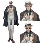 1boy alternate_costume arurandis brown_footwear dark_skin dark_skinned_male facial_hair flower full_body glasses green_shirt hat highres holostars jacket lack looking_at_viewer male_focus multiple_views necktie official_art open_mouth pants rose shirt short_hair simple_background smile sunglasses upper_body virtual_youtuber white_background white_hair white_headwear white_jacket white_neckwear white_pants
