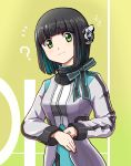 1girl ? bangs bow bowtie eyebrows_visible_through_hair green_eyes highres humagear_headphones is_(kamen_rider_01) kamen_rider kamen_rider_01_(series) looking_at_viewer looking_down menome short_hair solo