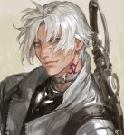 1boy bangs choker final_fantasy final_fantasy_xiv frischenq grey_eyes gunblade hyur jacket looking_at_viewer male_focus neck_tattoo open_clothes open_jacket short_hair simple_background solo tattoo thancred_waters weapon white_hair wind