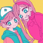 1boy 1girl brother_and_sister brown_hair dipper_pines gravity_falls hairband halftone hand_up hat highres long_hair looking_at_viewer mabel_pines milk_o no_nose pink_hairband pink_nails pink_sweater short_hair siblings star-shaped_pupils star_(symbol) sweater symbol-shaped_pupils twins vest yellow_background