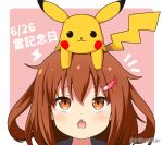 1girl 1other brown_eyes brown_hair crossover eyebrows_visible_through_hair fang fang_out gen_1_pokemon hair_between_eyes hair_ornament hairclip ikazuchi_(kantai_collection) kantai_collection miicha open_mouth pikachu pokemon pokemon_(creature) portrait short_hair twitter_username