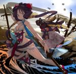 1girl :/ backlighting beach bikini black_hair bracelet commentary_request dynamic_pose evening fate/grand_order fate_(series) flower hair_flower hair_ornament jewelry katana katsushika_hokusai_(fate/grand_order) katsushika_hokusai_(swimsuit_saber)_(fate) ocean sand sandals sheath sheathed short_hair solo swimsuit sword teke_(exploration) tokitarou_(fate/grand_order) violet_eyes water weapon white_bikini