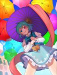 13_(spice!!) 1girl bangs blue_eyes blue_hair blue_skirt blue_sky blue_vest building commentary_request frilled_skirt frills heterochromia highres holding holding_umbrella juliet_sleeves long_sleeves looking_at_viewer looking_down miniskirt oriental_umbrella puffy_sleeves purple_umbrella red_eyes shirt short_hair skirt sky solo tatara_kogasa tongue tongue_out touhou umbrella vest white_shirt