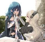 2girls arm_guards armor blonde_hair blue_eyes blue_hair blush brick_wall byleth_(fire_emblem) byleth_(fire_emblem)_(female) cape coat corrin_(fire_emblem) corrin_(fire_emblem)_(female) cup fire_emblem fire_emblem:_three_houses fire_emblem_fates hairband hands_on_another's_face long_hair looking_at_another medium_hair midriff multiple_girls navel open_mouth pointy_ears red_eyes sparkle table teacup very_long_hair yappen