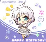 1girl bang_dream! blue_eyes braid character_name chibi happy_birthday highres looking_at_viewer side_braids teen_(teen629) twin_braids wakamiya_eve white_hair