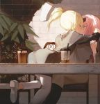 2girls bangs black_legwear blonde_hair blue_eyes blush bubble_tea cafe commentary_request drink drinking_straw fujiwara_chika hayasaka_ai highres iced_tea indoors kaguya-sama_wa_kokurasetai_~tensai-tachi_no_renai_zunousen~ kiss long_sleeves looking_at_another muike multiple_girls pink_hair ponytail sidelocks surprise_kiss surprised white_footwear white_legwear yuri